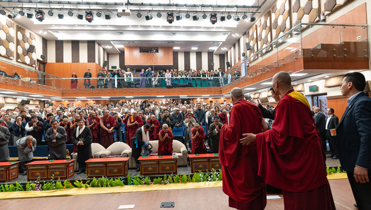 His Holiness the Dalai Lama greeting the audience inside the Tibetan Institute of Performing Arts' new auditorium in Dharamsala, India on October 29, 2019. Photo by Tenzin Choejor
