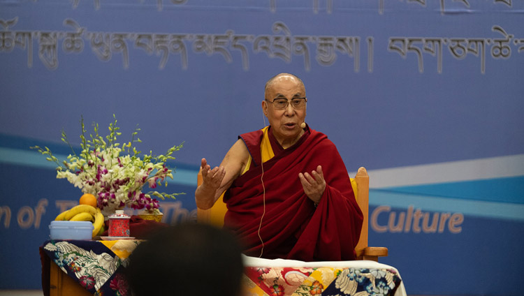 His Holiness the Dalai Lama addressing the audience during the program  celebrating 60 Years of the Tibetan Institute of Performing Arts in Dharamsala, India on October 29, 2019. Photo by Tenzin Choejor