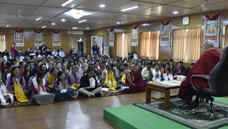 His Holiness the Dalai Lama addressing members of the Vairochana Institute at his residence in Dharamsala, HP, India on October 29, 2019. Photo by Ven Tenzin Damchoe