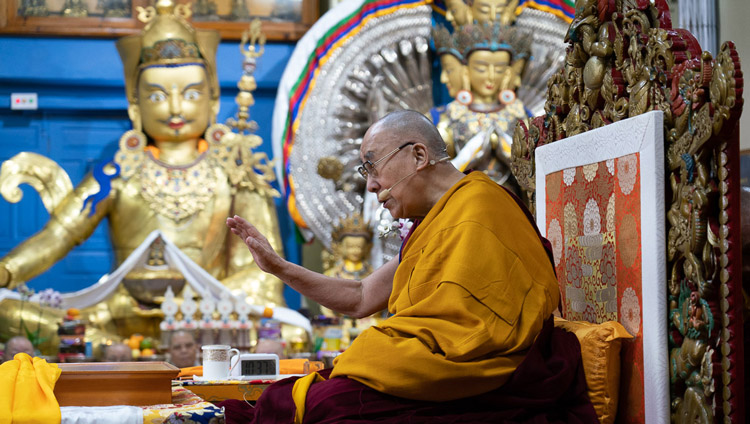 His Holiness the Dalai Lama addressing the gathering on the second day of teachings at the Main Tibetan Temple in Dharamsala, HP, India on November 5, 2019. Photo by Ven Tenzin Jamphel