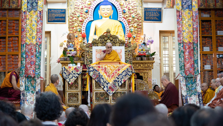 A view inside the Main Tibetan Temple on the second day of His Holiness the Dalai Lama's teachings in Dharamsala, HP, India on November 5, 2019. Photo by Ven Tenzin Jamphel