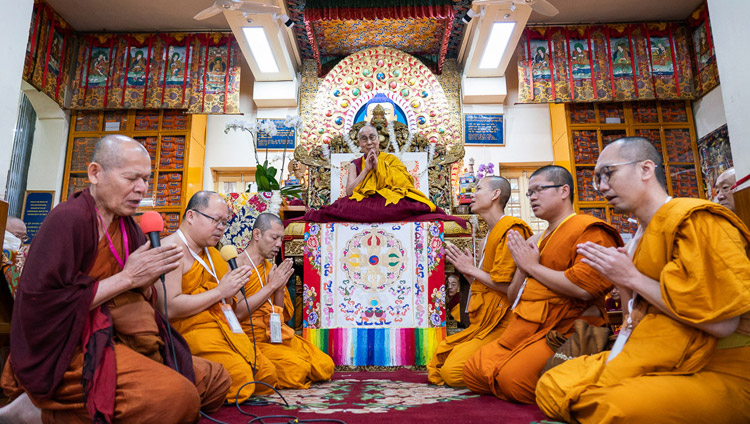 Monks from Thailand reciting the 'Mangala Sutta' in Pali on the final day of His Holiness the Dalai Lama's teachings at the Main Tibetan Temple in Dharamsala, HP, India on November 6, 2019. Photo by Ven Tenzin Jamphel