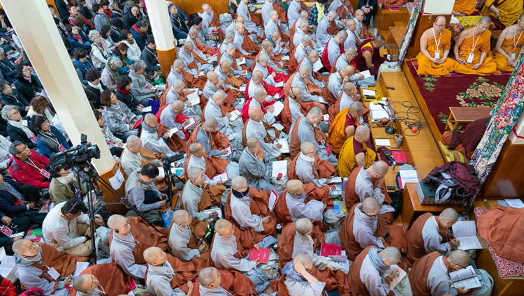 A view of the audience inside the Main Tibetan Temple on the final day of His Holiness the Dalai Lama's teachings requested by a group from Korea in Dharamsala, HP, India on November 6, 2019. Photo by Ven Tenzin Jamphel