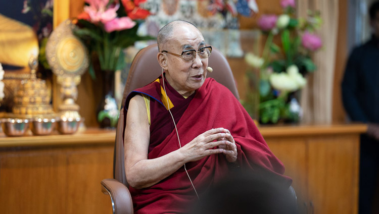His Holiness the Dalai Lama addressing the gathering during his meeting with entrepreneurs and management graduates at his residence in Dharamsala, HP, India on November 7, 2019. Photo by Tenzin Choejor