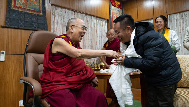 His Holiness the Dalai Lama with Chief Minister of Sikkim, Prem Singh Tamang at his residence in Dharamsala, HP, India on November 8, 2019. Photo by Tenzin Choejor