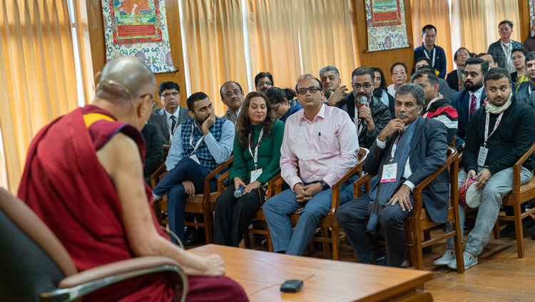 A member of the audience asking His Holiness the Dalai Lama a question during his meeting with delegates to the Rising Himachal Global Investors' Meet at his residence in Dharamsala, HP, India on November 8, 2019. Photo by Tenzin Choejor