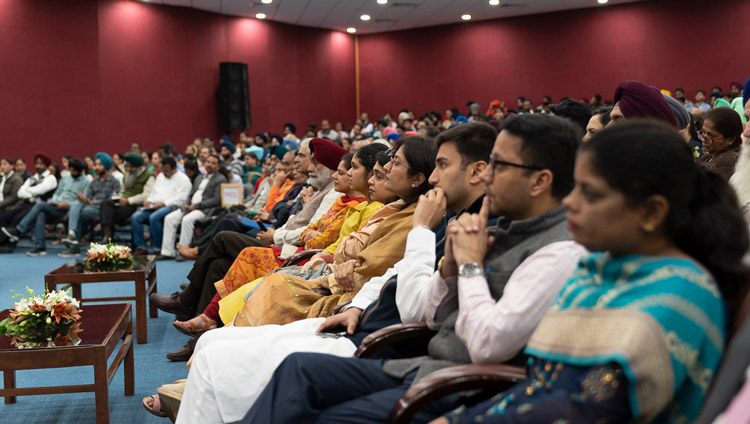 Members of the audience listening to His Holiness the Dalai Lama speaking at the Inter-Faith Conclave at Guru Nanak Dev University in Amritsar, Punjab, India on November 9, 2019. Photo by Tenzin Choejor