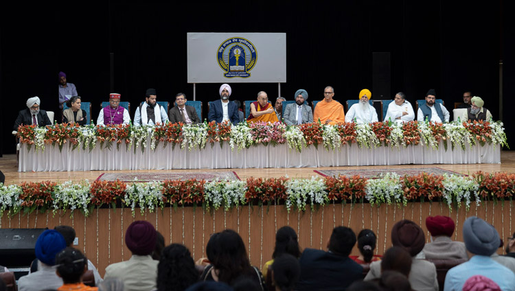 A view of the stage at Guru Nanak Dev University as His Holiness the Dalai Lama addresses the Inter-Faith Conclave in Amritsar, Punjab, India on November 9, 2019. Photo by Tenzin Choejor