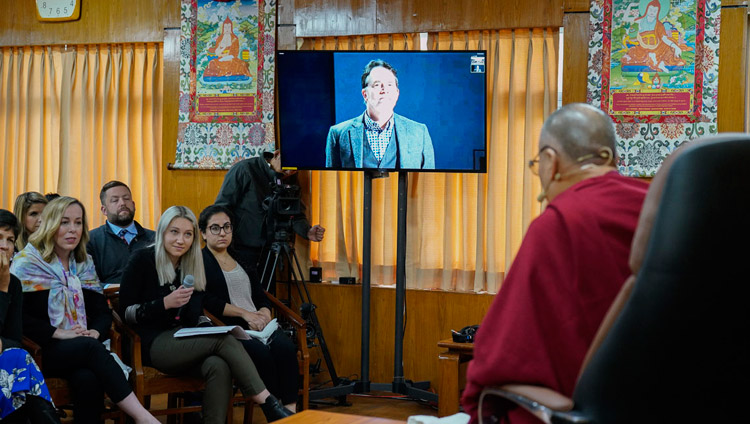 A member of the audience at Seattle University in Washington State asking His Holiness the Dalai Lama a question through video link during their program at his residence in Dharamsala, HP, India on November 11, 2019. Photo by Ven Tenzin Jamphel