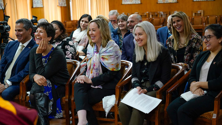 Members of the audience reacting to comments by His Holiness the Dalai Lama during their program on cultivating compassion at his residence in Dharamsala, HP, India on November 11, 2019. Photo by Ven Tenzin Jamphel