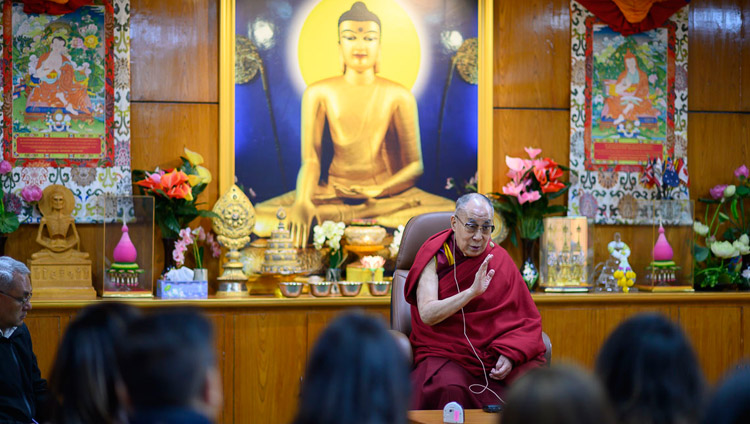 His Holiness the Dalai Lama speaking to the Nepal chapter of the Young Presidents' Organization (YPO) at his residence in Dharamsala, HP, India on November 13, 2019. Photo by Tenzin Choejor