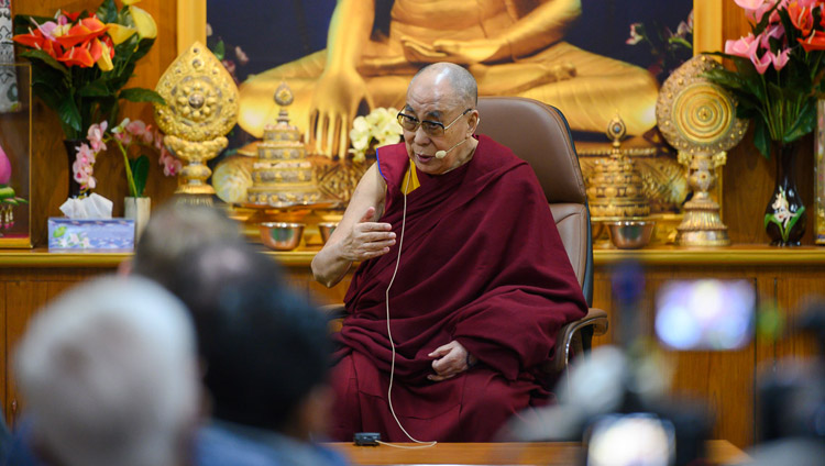 His Holiness the Dalai Lama addressing members of the Youth Buddhist Society of India, Sankisa and students and faculty from the Indian Institute of Mass Communication at his residence in Dharamsala, HP, India on November 15, 2019. Photo by Tenzin Choejor