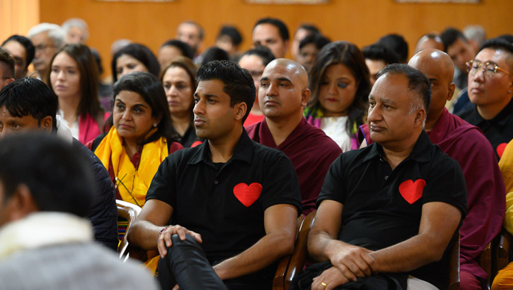 Members of the audience listening to His Holiness the Dalai Lama speaking during his meeting with Indian Buddhists and students of mass communication at his residence in Dharamsala, HP, India on November 15, 2019. Photo by Tenzin Choejor