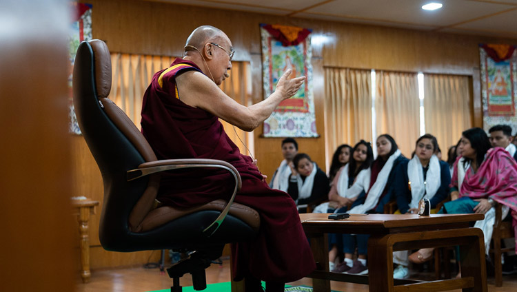 His Holiness the Dalai Lama speaking to Indian Buddhists and students of mass communication at his residence in Dharamsala, HP, India on November 15, 2019. Photo by Tenzin Choejor