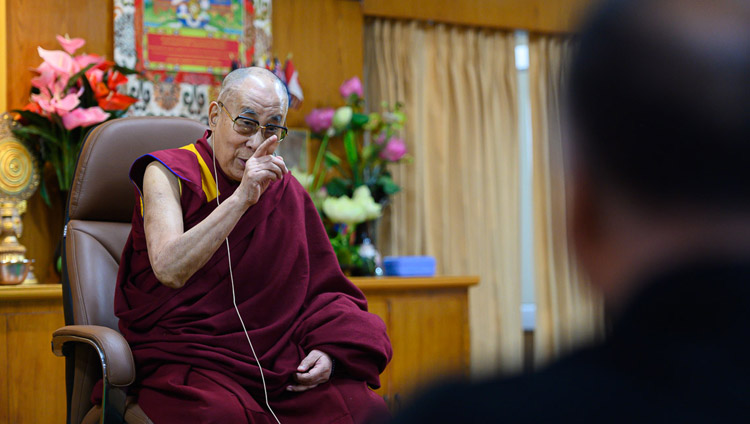 His Holiness the Dalai Lama responding to a question from the audience during his meeting members of the Youth Buddhist Society of India, Sankisa and students and faculty from the Indian Institute of Mass Communication at his residence in Dharamsala, HP, India on November 15, 2019. Photo by Tenzin Choejor