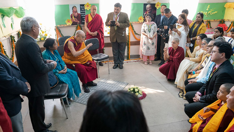 His Holiness the Dalai Lama meeting with supporters and friends of Tushita on his arrival at St Columba's School in New Delhi, India on November 20, 2019. Photo by Tenzin Choejor
