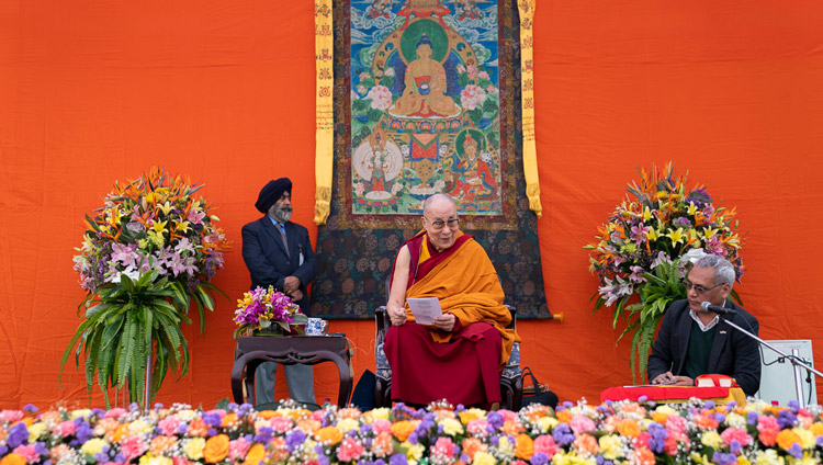 His Holiness the Dalak Lama giving a short teaching on 'Eight Verses for Training the Mind' during his talk at Tushita Delhi's 40th Anniversary celebration held at St. Columba's School in New Delhi, India on November 20, 2019. Photo by Tenzin Choejor