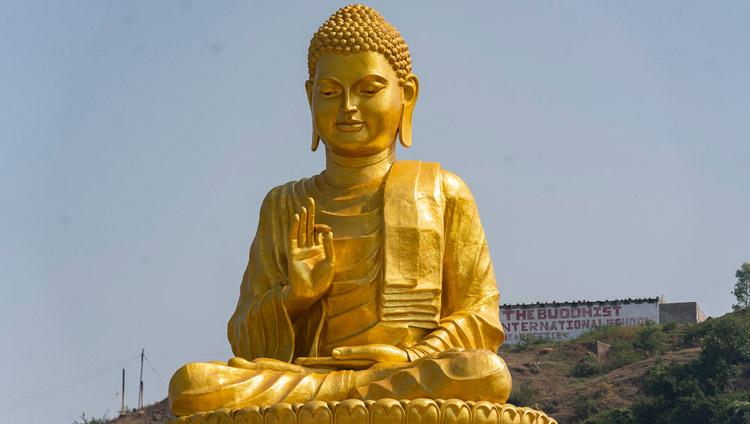 A view of the golden Buddha stature at the Lokuttara International Bhikku Training Center in Aurangabad, Maharashtra, India on November 23, 2019. Photo by Tenzin Choejor