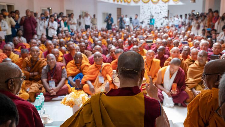 His Holiness the Dalai Lama speaking to more than 150 Bhikkus and guests at the Lokuttara International Bhikku Training Center in Aurangabad, Maharashtra, India on November 23, 2019. Photo by Tenzin Choejor