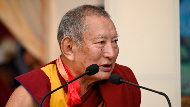 Kirti Rinpoche speaking at the 25th Founding Anniversary of Kirti Jepa Dratsang celebration in Dharamsala, HP, India on December 7, 2019. Photo by Manuel Bauer