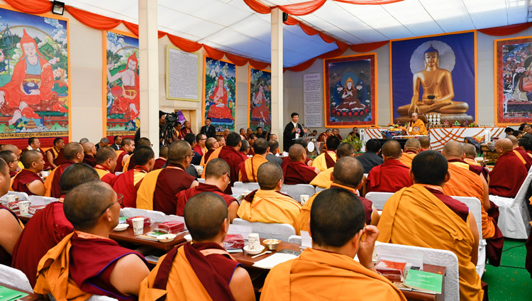 President of the Central Tibetan Administration Dr Lobsang Sangay speaking at the inauguration of the Symposium on Monastic Education to mark the 25th anniversary of Kirti Jepa Dratsang in Dharamsala, HP, India on December 7, 2019. Photo by Manuel Bauer