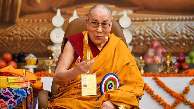 His Holiness the Dalai Lama addressing the gathering at the 25th Founding Anniversary of Kirti Jepa Dratsang in Dharamsala, HP, India on December 7, 2019. Photo by Manuel Bauer