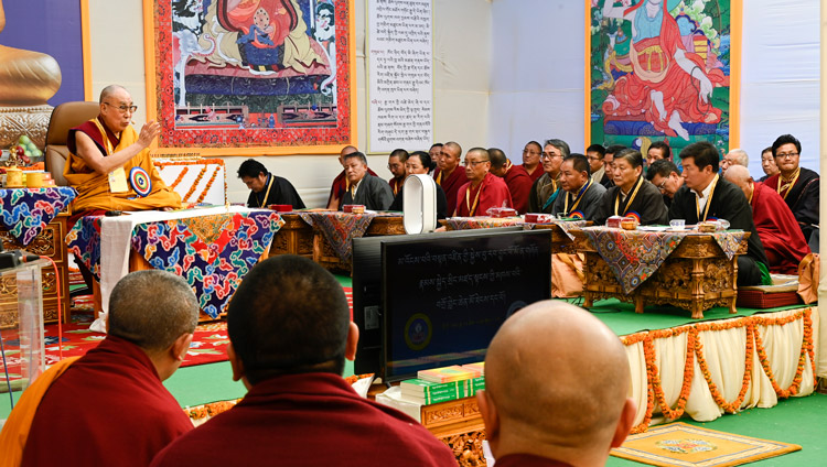 His Holiness the Dalai Lama speaking at the 25th Founding Anniversary of Kirti Jepa Dratsang in Dharamsala, HP, India on December 7, 2019. Photo by Manuel Bauer