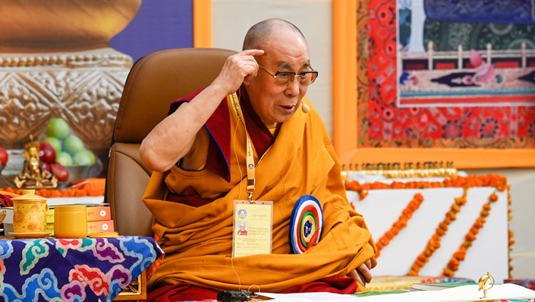 His Holiness the Dalai Lama speaking at the inauguration of the Symposium on Monastic Education to mark the 25th anniversary of Kirti Jepa Dratsang in Dharamsala, HP, India on December 7, 2019. Photo by Manuel Bauer
