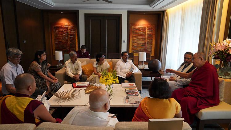 His Holiness the Dalai Lama discussing the new Dalai Lama Chair for Nalanda Studies during a meeting at his hotel in Goa, India on December 11, 2019. Photo by Lobsang Tsering