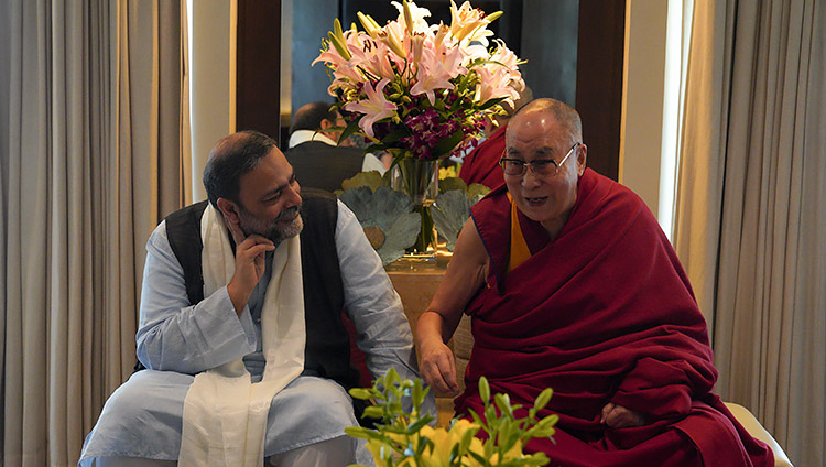 His Holiness the Dalai Lama with Vice-Chancellor of Goa University, Varun Sahni, during their discussion of the new Dalai Lama Chair for Nalanda Studies during a meeting at his hotel in Goa, India on December 11, 2019. Photo by Lobsang Tsering