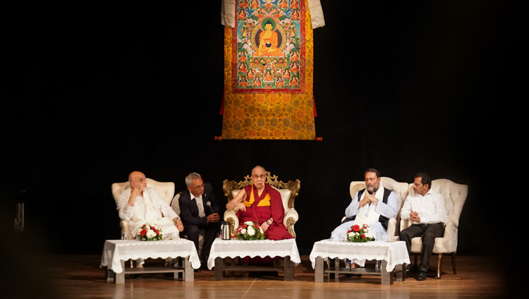 """His Holiness the Dalai Lama speaking on """"The Relevance of the Ancient Nalanda Tradition in Modern Times"""" at Kala Academy in Goa, India on December 11, 2019. Photo by Lobsang Tsering"""