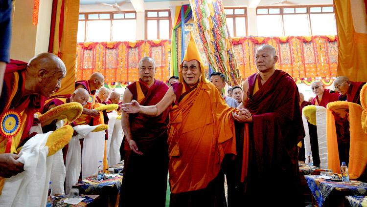 His Holiness the Dalai Lama arriving at Drepung Lachi in Mundgod, Karnataka, India on December 12, 2019. Photo by Lobsang Tsering