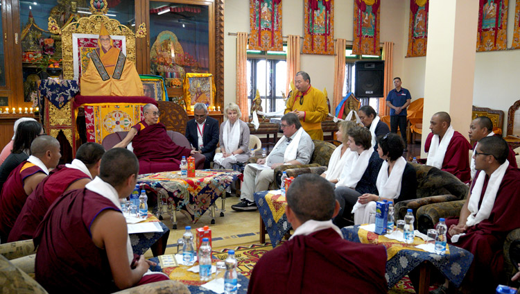 Telo Rinpoche introducingh the discussion with His Holiness the Dalai Lama and participant in a Russian research program at his residence at Drepung Gomang Monastery in Mundgod, Karnataka, India on December 13, 2019. Photo by Lobsang Tsering