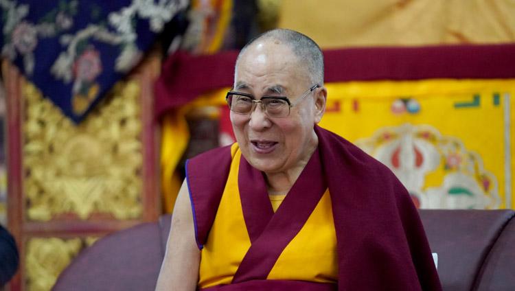 His Holiness the Dalai Lama speaking to members of a Russian research program at his residence at Drepung Gomang Monastery in Mundgod, Karnataka, India on December 13, 2019. Photo by Lobsang Tsering