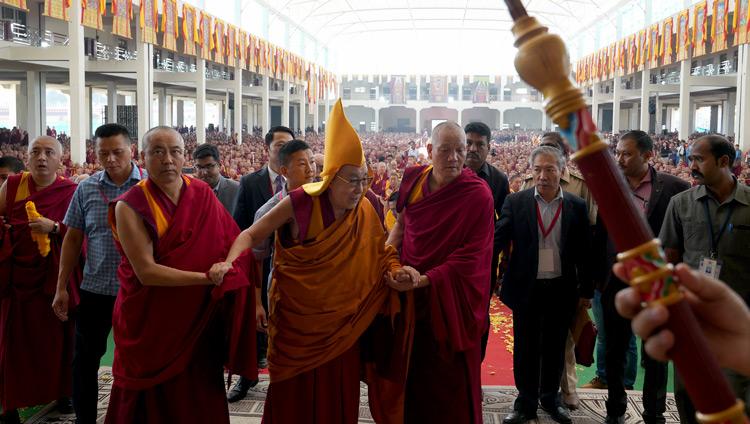 His Holiness the Dalai Lama arriving at Drepung Gomang Monastery's new debate yard in Mundgod, Karnataka, India on December 14, 2019. Photo by Lobsang Tsering