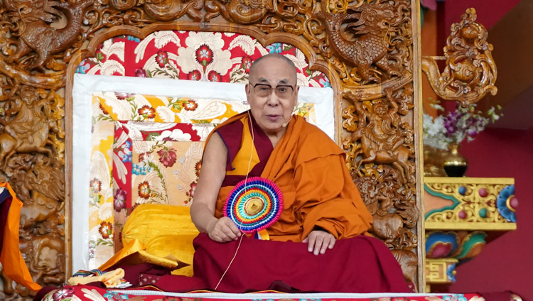 His Holiness the Dalai Lama speaking at the ceremony to mark the completion of a six-year implementation phase of the Emory Tibet Science Initiative (ETSI) at the new Drepung Gomang Monastery debate yard in Mundgod, Karnataka, India on December 14, 2019. Photo by Lobsang Tsering