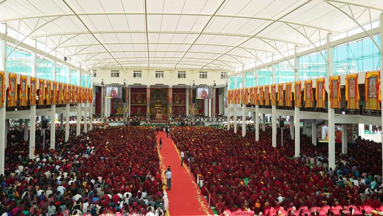 A view of the new Drepung Gomang Debate Courtyard in Mundgod, Karnataka, India during His Holiness the Dalai Lama's visit on December 14, 2019. Photo by Lobsang Tsering