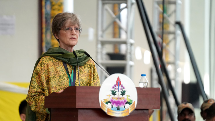 ETSI Neuroscience Faculty Leader Dr Carol Worthman speaking during a short ceremony to mark the completion of a six-year implementation phase of the Emory Tibet Science Initiative (ETSI) at the new Drepung Gomang Monastery debate yard in Mundgod, Karnataka, India on December 14, 2019. Photo by Lobsang Tsering