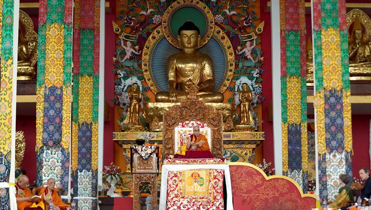 His Holiness the Dalai Lama giving teachings on his 'Praise to the 17 Masters of Nalanda' at the new Drepung Gomang Monastery debate yard in Mundgod, Karnataka, India on December 14, 2019. Photo by Lobsang Tsering