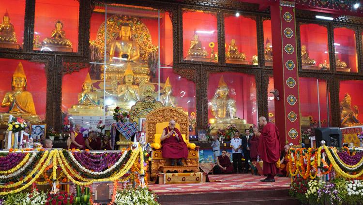 His Holiness the Dalai Lama speaking during the debate session at Drepung Loseling Assembly Hall in Mundgod, Karnataka, India on December 18, 2019. Photo by Lobsang Tsering