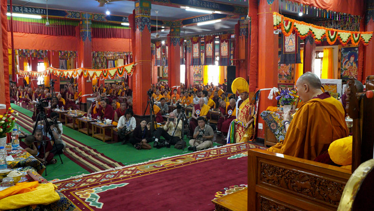 His Holiness the Dalai Lama addressing the congregation during the welcome ceremony at Gaden Shartse Monastery in Mundgod, Karnataka, India on December 18, 2019. Photo by Lobsang Tsering