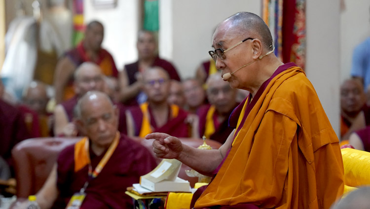 His Holiness the Dalai Lama delivering the keynote address at the inaugural session of the International Conference on Jé Tsongkhapa at Gaden Lachi Assembly Hall in Mundgod, Karnataka, India on December 20, 2019. Photo by Lobsang Tsering