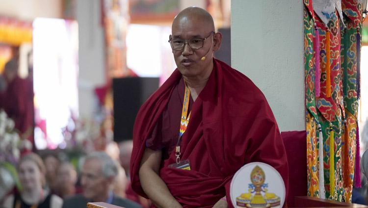 Moderator Khensur Jangchub Choeden introducing the next Prof Donald Lopez during the inaugural session of the International Conference on Jé Tsongkhapa at Gaden Lachi Assembly Hall in Mundgod, Karnataka, India on December 20, 2019. Photo by Lobsang Tsering
