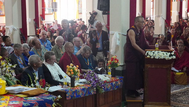 Geshe Yaman Rinchen speaking at the International Conference on Jé Tsongkhapa at Gaden Lachi Assembly Hall in Mundgod, Karnataka, India on December 20, 2019. Photo byJeremy Russell