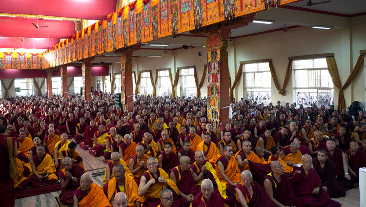 A view of some of the more than 15,000 people watching His Holiness the Dalai Lama during the Long Life Offering in Mundgod, Karnataka, India on December 22, 2019. Photo by Lobsang Tsering