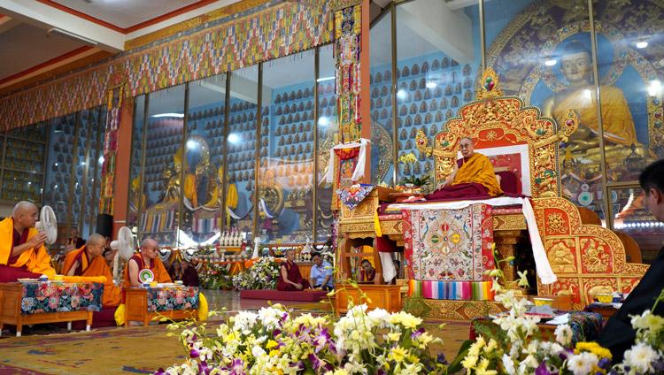 His Holiness the Dalai Lama speaking during the Long Life Offering at Gaden Jangtse Monastery in Mundgod, Karnataka, India on December 22, 2019. Photo by Lobsang Tsering