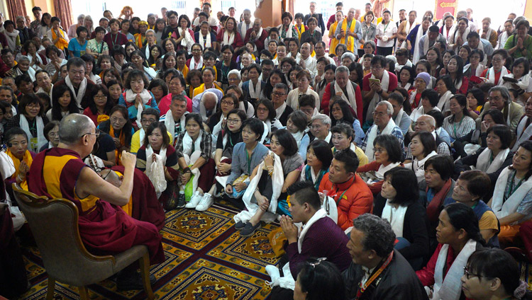 His Holiness the Dalai Lama speaking to friends and supporters of Ganden Jangtsé Monastery before attending the debate session at the monastery's assembly hall in Mundgod, Karnataka, India on December 23, 2019. Photo by Lobsang Tsering