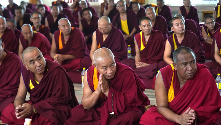 Some of the more than 2000 monks attending the debate session listening to His Holiness the Dalai Lama at the Ganden Jangtsé Assembly Hall in Mundgod, Karnataka, India on December 23, 2019. Photo by Lobsang Tsering