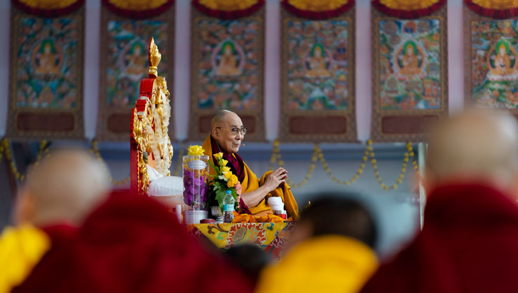 His Holiness the Dalai Lama addressing the crowd at the Kalachakra Ground in Bodhgaya, Bihar, India on January 2, 2020. Photo by Tenzin Choejor
