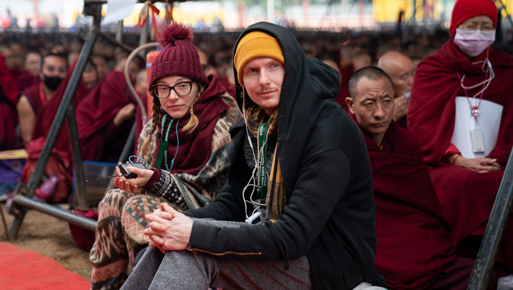 Members of the crowd of estimated at 35,000 including those from 67 countries, listening to His Holiness the Dalai Lama at the Kalachakra Ground in Bodhgaya, Bihar, India on January 2, 2020. Photo by Tenzin Choejor